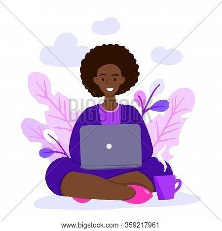 Vector Illustration Of Internet Assistant At Work. Manager For Remote Work. Freelancer African Ameri