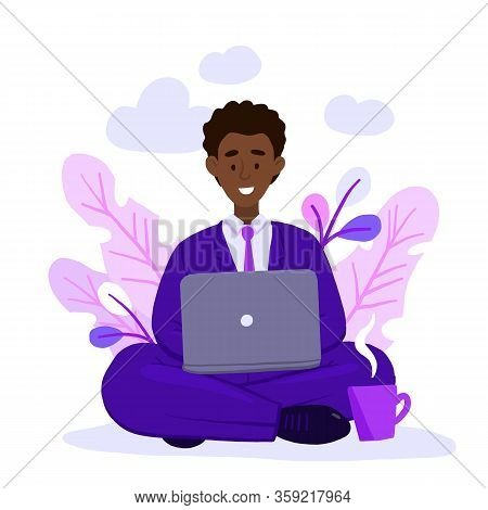 African American Adult Man Working At Home Vector Concept Illustration. Freelancer Character Working
