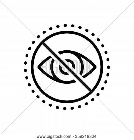 Black Line Icon For Blind Eye Blindness Forbidden Optical Sightless Viewless Eyeless