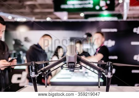 Belarus, Minsk, 25 May 2019.quadrocopter Black And Grey Model At A Technology Exhibition