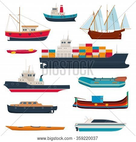 Set Of Different Ships And Boats. Water Transport. Fishboat, Sailing Ship, Kayak, Cargo Ship,  Yacht