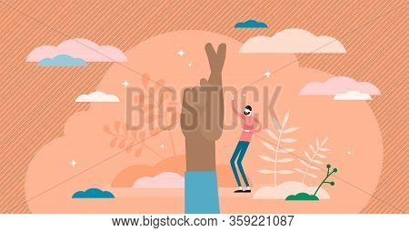 Fingers Crossed Symbol Vector Illustration. Hope, Luck And Faith Flat Tiny Persons Concept. Hand Ges