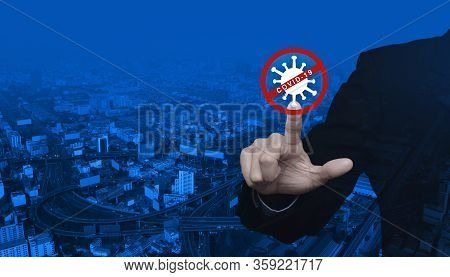 Businessman Pressing Stop Covid-19 Outbreak Flat Icon Over Modern City Tower, Street, Expressway And