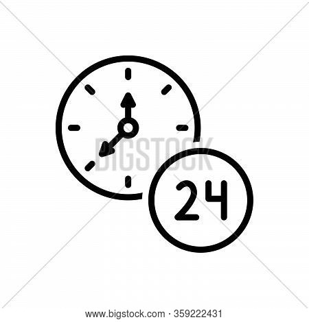 Black Line Icon For Hour Twenty-four-hours Clock Time Day Service Helpline Sign