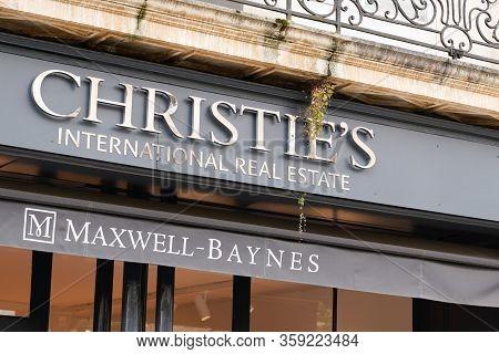 Bordeaux , Aquitaine / France - 10 17 2019 : Christie`s International Real Estate Sign Store Logo On