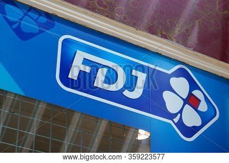 Bordeaux , Aquitaine / France - 10 28 2019 : Fdj Logo France National Lottery Operator Store Sign Fr