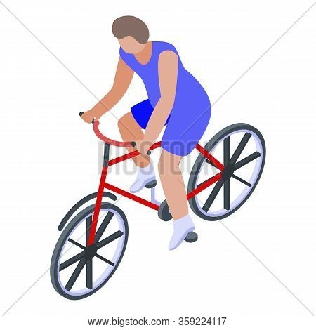Competition Triathlon Cycling Icon. Isometric Of Competition Triathlon Cycling Vector Icon For Web D
