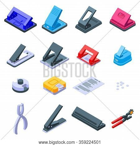 Hole Puncher Icons Set. Isometric Set Of Hole Puncher Vector Icons For Web Design Isolated On White