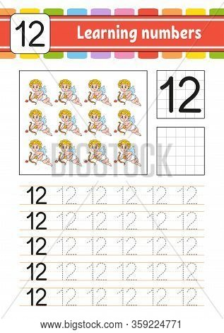 Number 12. Trace And Write. Handwriting Practice. Learning Numbers For Kids. Education Developing Wo