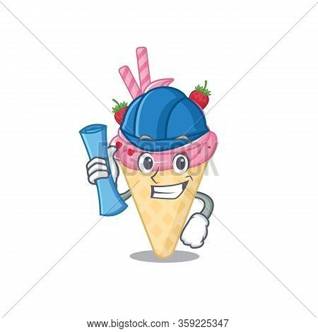Cartoon Character Of Strawberry Ice Cream Brainy Architect With Blue Prints And Blue Helmet