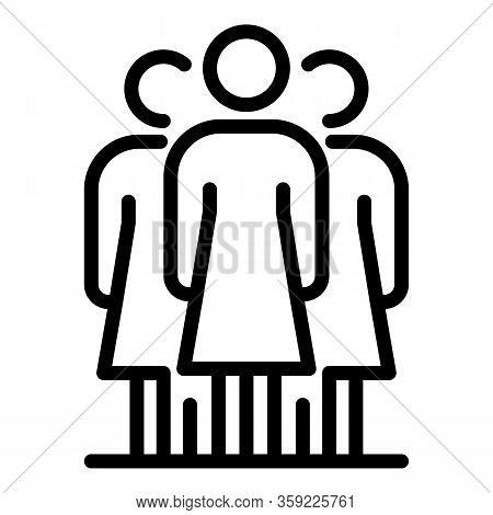 Woman Group Social Service Icon. Outline Woman Group Social Service Vector Icon For Web Design Isola