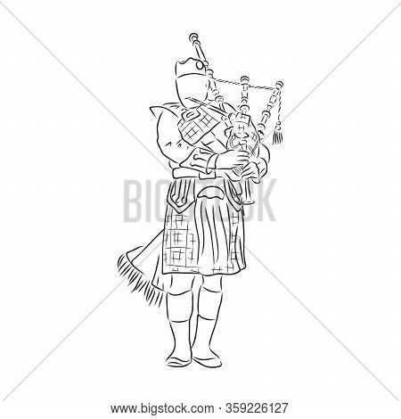 Bagpipes Instrument Sketch Vector Illustration. Scratch Board Style Imitation. Black And White Hand