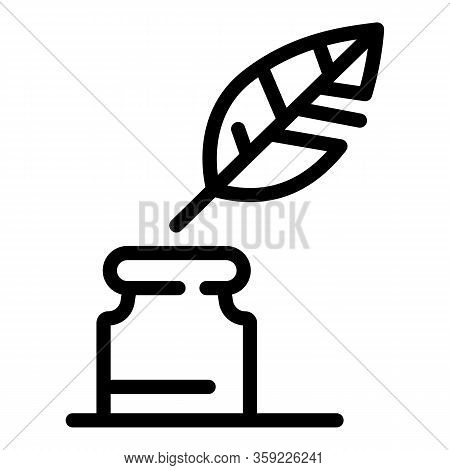 Ink Jar Feather Icon. Outline Ink Jar Feather Vector Icon For Web Design Isolated On White Backgroun