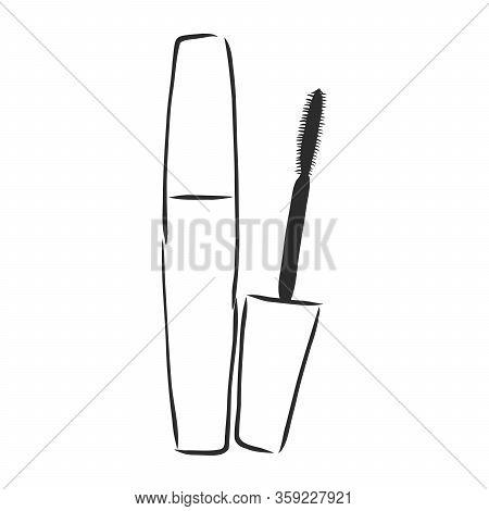Woman Cosmetic Brush Smears. Vector Mascara Brush On White Background. Mascara Brush For Woman Makeu