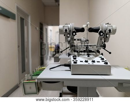 Medical Vision Measuring Device In Hospital.health Care Concept.