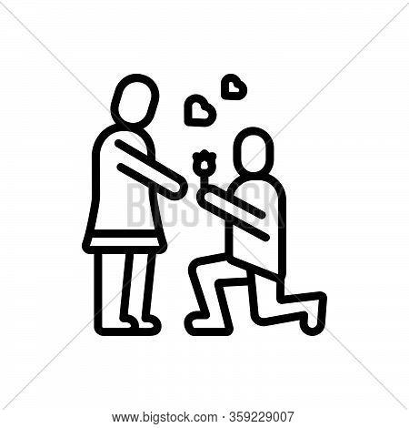 Black Line Icon For Propose Valentines-day Couple Put-forward Kneel Love Lover Celebration Dating Af