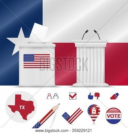 Presidential Elections In Texas. Vector Waving Flag, Realistic Ballot Box, Public Speakers Podium, S