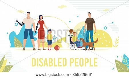 Disabled People Trendy Flat Vector Banner, Poster Template. Father And Mother With Disabilities, Par