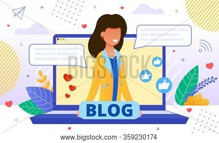Friendly Smiling Blogger On Laptop Screen Promoting Personal Blog. Girl Offering Services And Goods