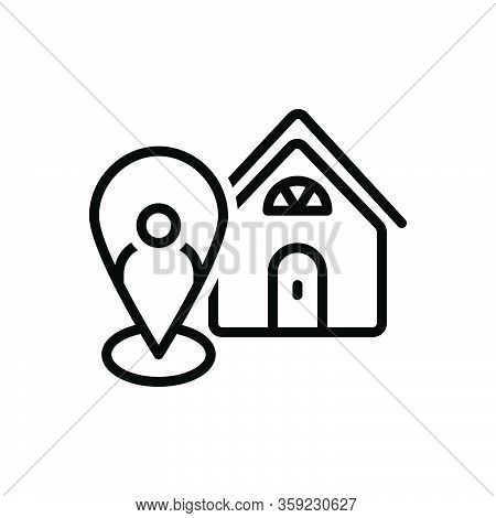 Black Line Icon For Local Neighborhood Nearby Map Localization Indicator Marker