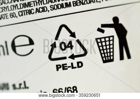 Close-up Of Plastic Recycling Symbol 04 Pe-ld (low-density Polyethylene)