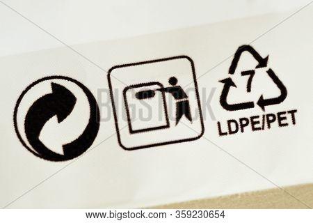 Close-up Of Plastic Recycling Symbol 7 Ldpe/pet (low-density Polyethylene)