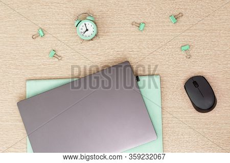 Work Space And Time Management Concept. Start Of Freelancers Working Day. Work From Home Under Quara