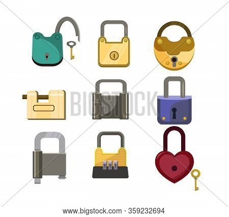 Lock Icons Set. Heart Lock, Metal Lock, Code Lock. House Protection Concept. Illustration Can Be Use