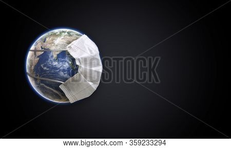 Planet Earth With Face Mask Protect. World Medical Concept. Earth With Face Mask Protect The Globe.