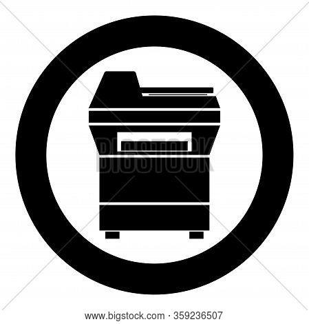 Copy Machine Printer Copier For Office Photocopier Duplicate Equipment Icon In Circle Round Black Co