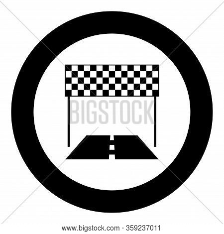 Finish And Road Line Racing Track Success Concept Finishing Icon In Circle Round Black Color Vector