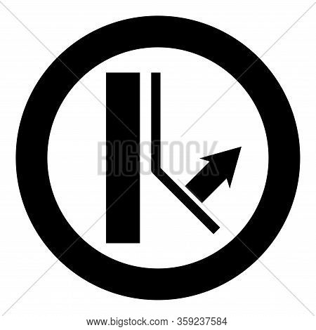 Bottom Layer Remains On Wall Designation On Wallpaper Symbol Icon In Circle Round Black Color Vector