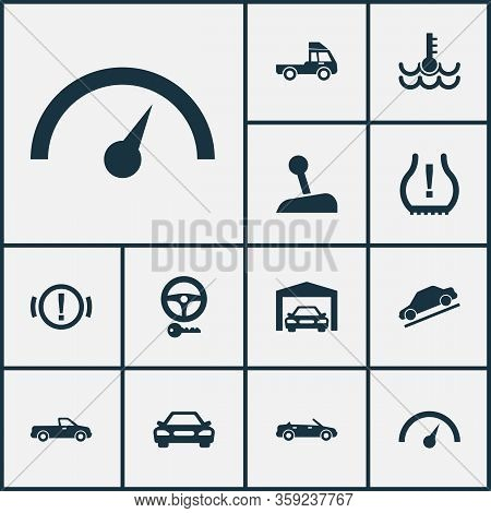 Automobile Icons Set With Key, Pickup, Hill Descent And Other Van Elements. Isolated Illustration Au