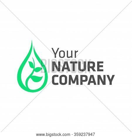 Nature Company Logo With Abstract Shapes Of Water Droplets And Growing Plant Seeds. Suitable For The