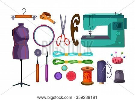Sewing Tools Set. Collection For Tailoring And Dressmaking. Can Be Used For Topics Like Needlecraft,