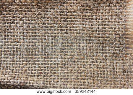 Hessian Texture Of Burlap Sack Sacking Cloth Background. Sackcloth Brown Fabric Natural Pattern, Swa