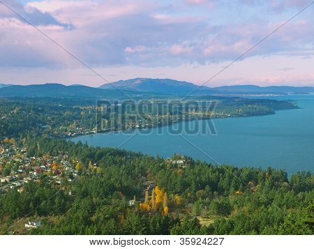 Saanich Peninsula and Cordova Bay   Vancouver Island view from above poster