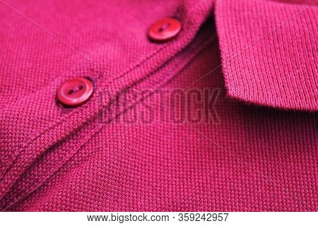Purple Buttined Polo Shirt Close Up. Classic Plain Tee, Pink Colour Polo Shirt Isolated Close Up Low