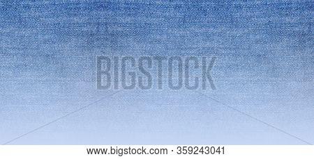 Jeans Texture Background, Gradient Abstract Light Blue Denim Fabric Surface. Empty Denim Jean Patter