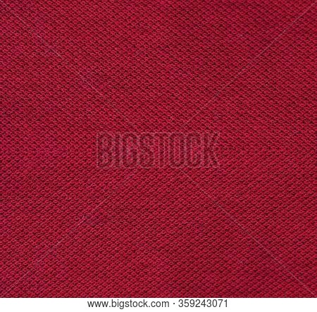 Fabric Texture Background, Abstract Close Up Detailed Dark Burgundy Cloth. Empty Vertical Brochure,