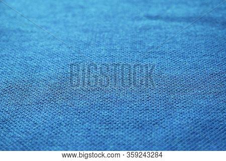 Blue Fabric Texture Background. Empty Light Blue Color Cloth Surface, Simple Azure Tone Cotton Mater