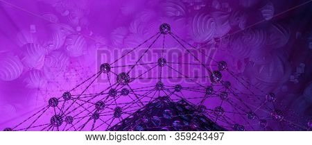 Abstract 3d rendering of chaotic structure. Sci-fi technology background.