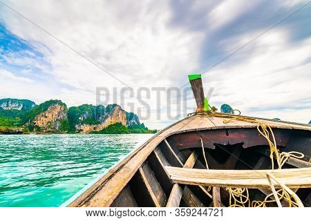View From Boat Going To Famous Railay Beach, Krabi Thailand. Coastline Of Andaman Sea, Famous Touris