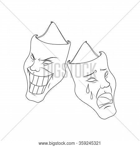 Theatrical Masks, Vector Image. Characters Of Comedy And Tragedy. Classic Image. Tattoo. Circuit.