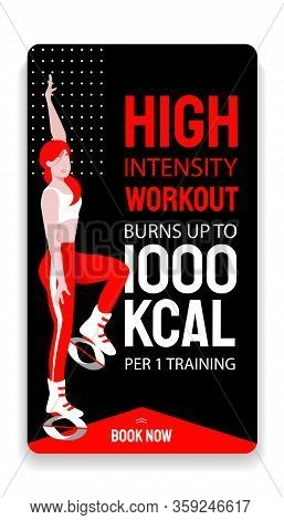 Kangoo Jump High Intensity Interval Workout Advertisement Story Template. Female In Sport Outfit And