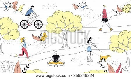 Weekend Time Leisure Concept. People Walk In The Park, Do Yoga, Ride Bicycle. Active People Do Sport