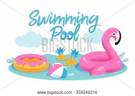 Concept Of Summer Vacations. Cute Inflatable Pink Flamingo With Ball, Rubber Ring In The Swimming Po