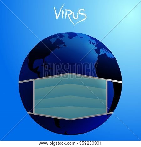Planet Hearth Wearing A Face Mask Over Blue Gradient Background With Virus Decorative Text In White