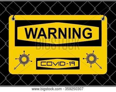 Yellow Warning Sign For Covid-19 Infection With Text And Abstract Molecules Icons Over Black Backgro