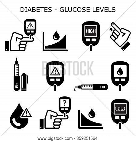 Diabetes, Diabetic Healthcare Vector Icons Set - High And Low Sugar, Glucose Levels - Hypoglycemia,